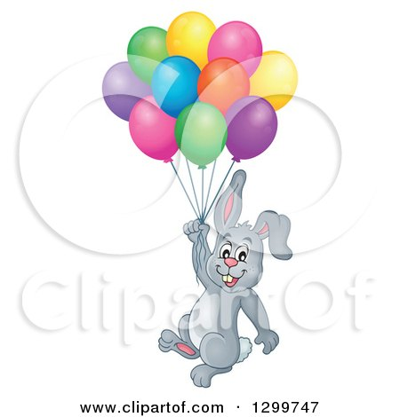Clipart of a Gray Bunny Rabbit Floating with Colorful Party Balloons - Royalty Free Vector Illustration by visekart