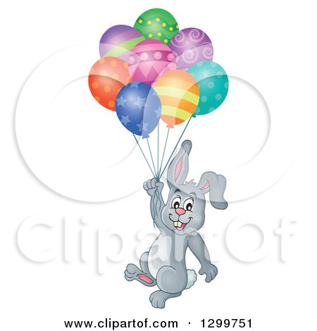 Clipart of a Gray Bunny Rabbit Floating with Colorful Patterned Party Balloons - Royalty Free Vector Illustration by visekart