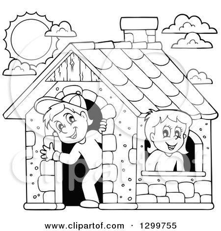 Clipart of a Black and White Boy and Girl in a Play House - Royalty Free Vector Illustration by visekart