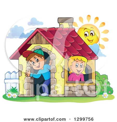 Clipart of a White Boy and Girl in a Play House with a Sun - Royalty Free Vector Illustration by visekart