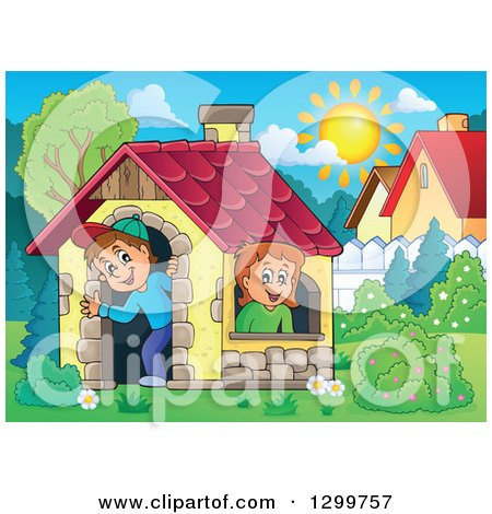 Clipart of a White Boy and Girl in a Play House on a Sunny Day - Royalty Free Vector Illustration by visekart