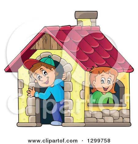 Clipart of a White Boy and Girl in a Play House - Royalty Free Vector Illustration by visekart