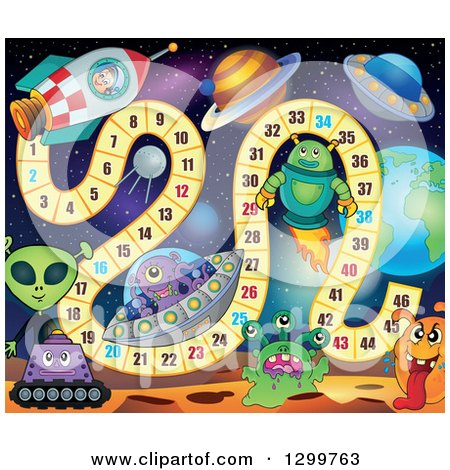 Clipart of a Board Game with Aliens and Planets - Royalty Free Vector Illustration by visekart