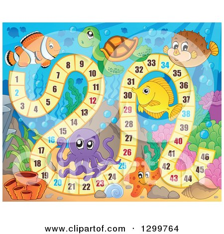 Clipart of a Board Game with Sea Creatures - Royalty Free Vector Illustration by visekart
