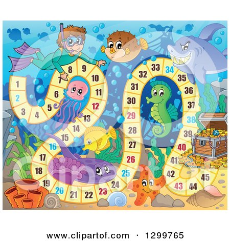 Clipart of a Board Game with a Snorkeling Boy and Sea Creatures - Royalty Free Vector Illustration by visekart