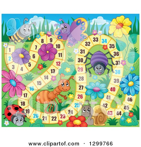 Clipart of a Board Game with Insects and Flowers - Royalty Free Vector Illustration by visekart