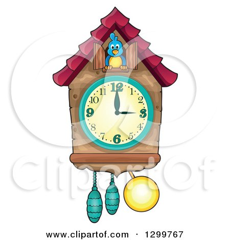 Clipart of a Bird in a Cuckoo Clock - Royalty Free Vector Illustration by visekart