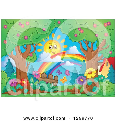 Clipart of a Happy Spring Time Sun and Rainbow over Trees Butterflies and Flowers - Royalty Free Vector Illustration by visekart