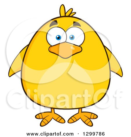 Clipart of a Cartoon Yellow Chick - Royalty Free Vector Illustration by Hit Toon