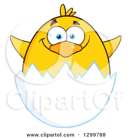 Clipart of a Cartoon Yellow Chick Hatching - Royalty Free Vector Illustration by Hit Toon