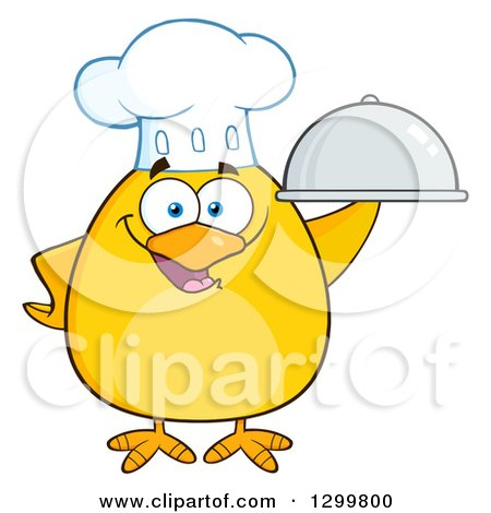 Clipart of a Cartoon Yellow Chick Chef Holding a Cloche Platter - Royalty Free Vector Illustration by Hit Toon