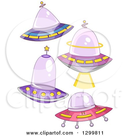 Clipart of Cartoon Flying Ufos - Royalty Free Vector Illustration by BNP Design Studio