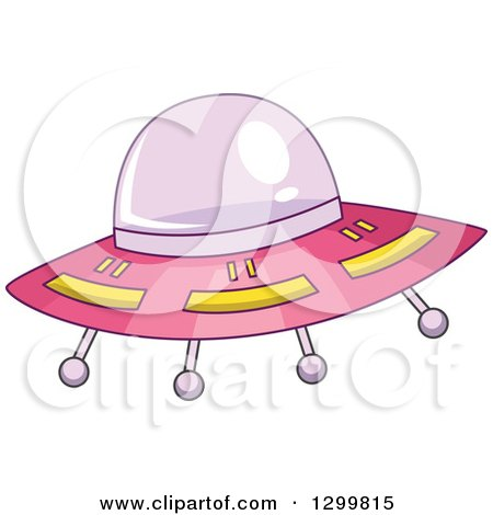 Clipart of a Cartoon Pink Flying Ufo - Royalty Free Vector Illustration by BNP Design Studio