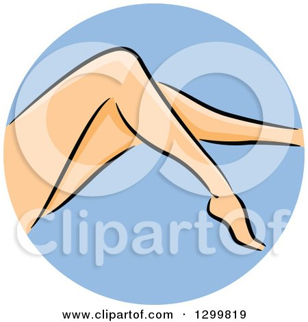 Clipart of a Round Blue Shaving Icon of a Woman's Legs - Royalty Free Vector Illustration by BNP Design Studio
