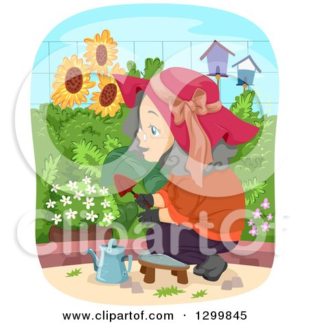 Clipart of a Cartoon Senior White Woman Tending to Her Garden - Royalty Free Vector Illustration by BNP Design Studio