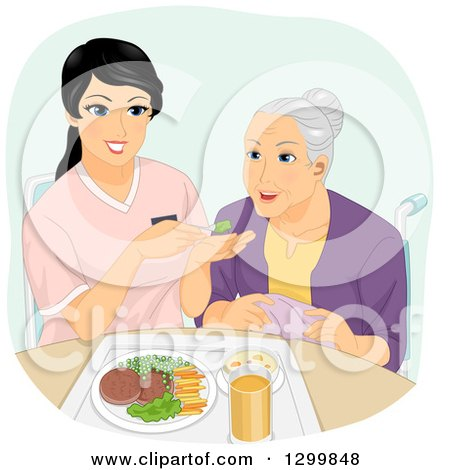 Clipart of a Cartoon Senior White Woman Being Fed by a Helper - Royalty Free Vector Illustration by BNP Design Studio