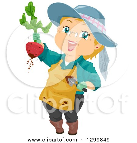 Cartoon Senior White Woman Holding up a Beet from a Garden Posters, Art Prints