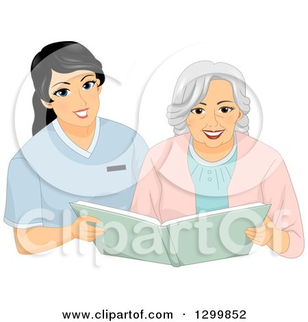 Clipart of a Cartoon Senior White Woman Looking Through a Photo Album with a Nurse - Royalty Free Vector Illustration by BNP Design Studio