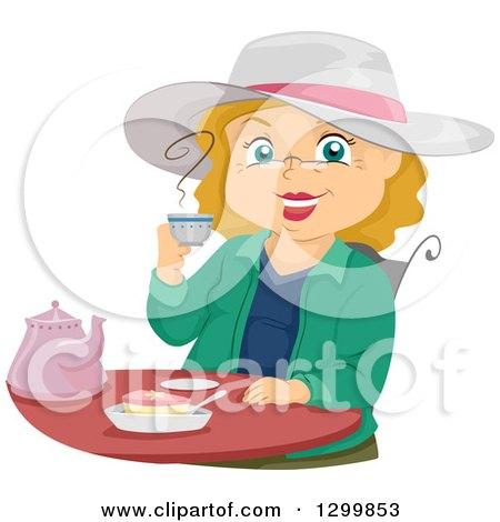 Cartoon Senior White Woman Smiling and Drinking Tea Posters, Art Prints