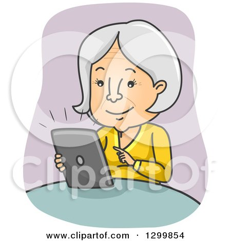 Clipart Of Caucasian Hands Using A Tablet Computer To