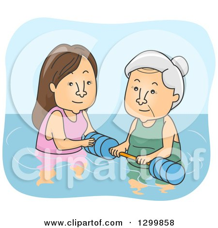 Clipart of a Cartoon Senior White Woman Getting Help for Water Therapy - Royalty Free Vector Illustration by BNP Design Studio
