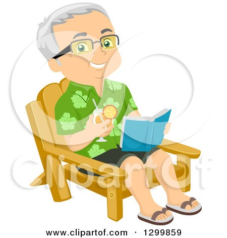 Clipart of a Cartoon Happy Traveling Senior White Man Holding a Drink and Readng a Book in a Chair - Royalty Free Vector Illustration by BNP Design Studio