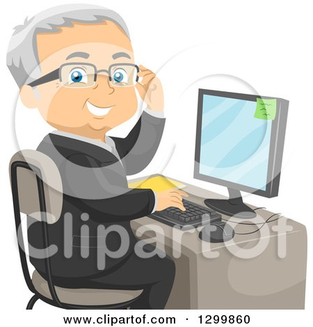 Clipart of a Cartoon Happy Forrmal Senior White Man Adjusting His Glasses and Looking Back While Working on a Computer - Royalty Free Vector Illustration by BNP Design Studio