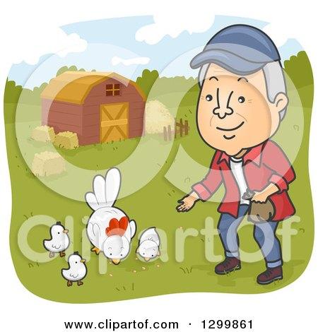 Clipart of a Cartoon Happy Senior White Man Feeding Chickens on a Farm - Royalty Free Vector Illustration by BNP Design Studio