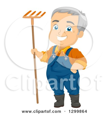 Clipart of a Cartoon Happy White Senior Male Farmer or Gardener Standing with a Rake - Royalty Free Vector Illustration by BNP Design Studio