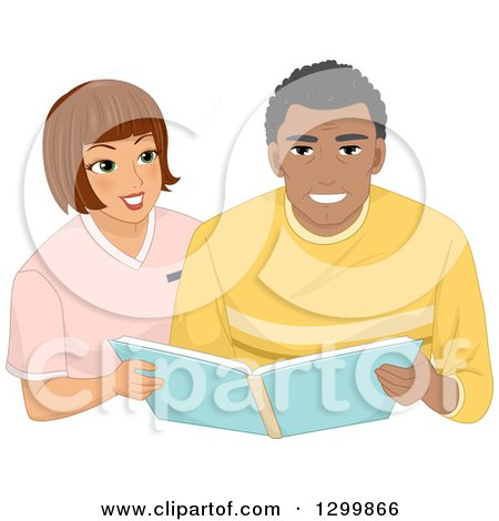 Clipart of a Brunette White Woman Assisting a Black Male Senior with an Album - Royalty Free Vector Illustration by BNP Design Studio