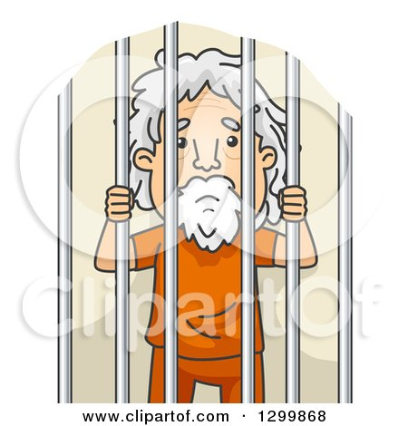 Clipart of a Cartoon Senior White Man Behind Jail Bars - Royalty Free Vector Illustration by BNP Design Studio
