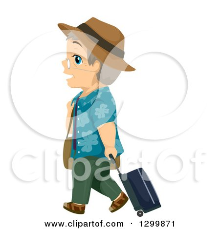 Clipart of a Cartoon White Senior Man Traveling and Walking with a Suitcase - Royalty Free Vector Illustration by BNP Design Studio