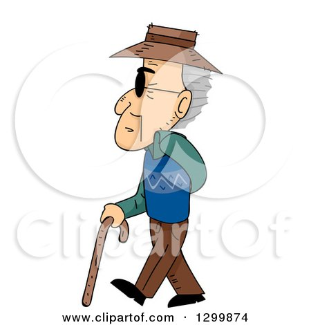 Clipart of a Cartoon Blind Senior White Man Walking to the Left ...