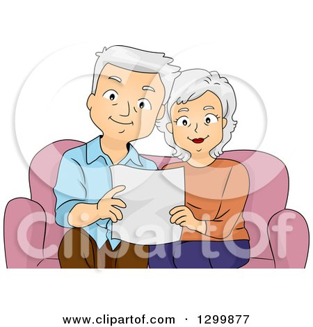 Clipart of a Cartoon Senior White Couple Reading a Page on a Couch - Royalty Free Vector Illustration by BNP Design Studio