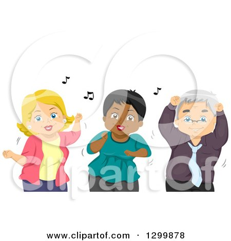 Clipart of a Cartoon Senior White Man and Women Dancing - Royalty Free Vector Illustration by BNP Design Studio