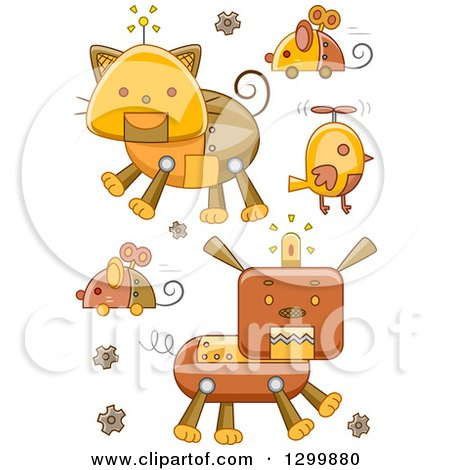 Clipart of Steampunk Robotic Animals - Royalty Free Vector Illustration by BNP Design Studio