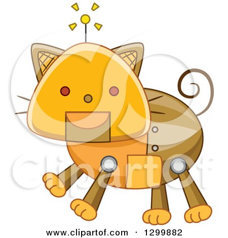 Clipart of a Steampunk Robotic Cat - Royalty Free Vector Illustration by BNP Design Studio