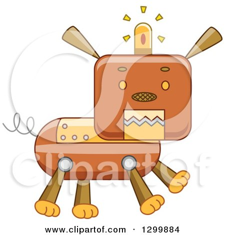 Clipart of a Steampunk Robotic Dog - Royalty Free Vector Illustration by BNP Design Studio