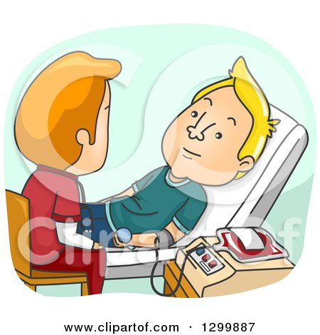 Clipart of a Cartoon White Male Nurse Helping a Man Donate Blood - Royalty Free Vector Illustration by BNP Design Studio