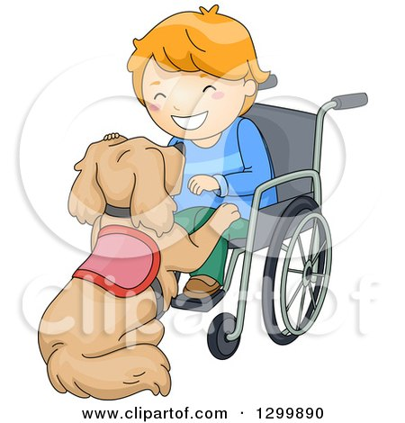 Clipart of a Cartoon Red Haired White Boy in a Wheelchair, Playing with His Assistance Dog - Royalty Free Vector Illustration by BNP Design Studio