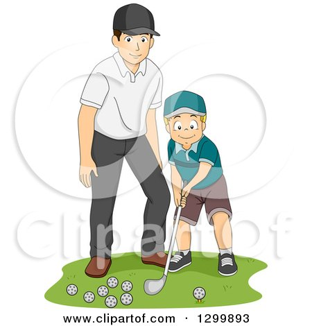Clipart of a Happy Caucasian Father or Coach Teaching a Boy How to Golf - Royalty Free Vector Illustration by BNP Design Studio