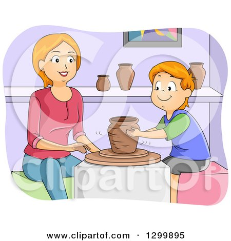 Clipart of a Red Haired White Boy and Mother Taking a Pottery Class - Royalty Free Vector Illustration by BNP Design Studio