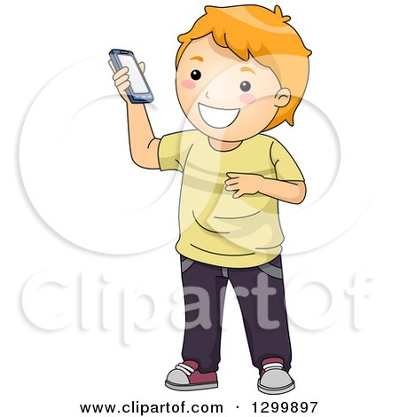 Clipart of a Cartoon Red Haired White Boy Holding up a Smart Phone - Royalty Free Vector Illustration by BNP Design Studio
