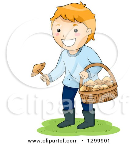 Clipart of a Red Haired White Boy Picking Wild Mushrooms - Royalty Free Vector Illustration by BNP Design Studio