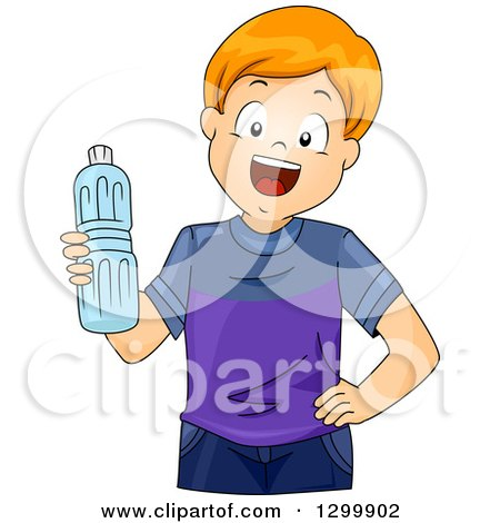 Clipart of a Happy Red Haired White Boy Holding a Water Bottle - Royalty Free Vector Illustration by BNP Design Studio