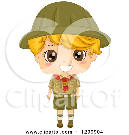 Clipart of a Happy Blond White Boy Scout in Uniform - Royalty Free Vector Illustration by BNP Design Studio