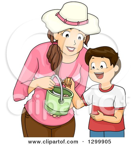 Clipart of a Brunette White Mother and Son Collecting Sea Shells - Royalty Free Vector Illustration by BNP Design Studio