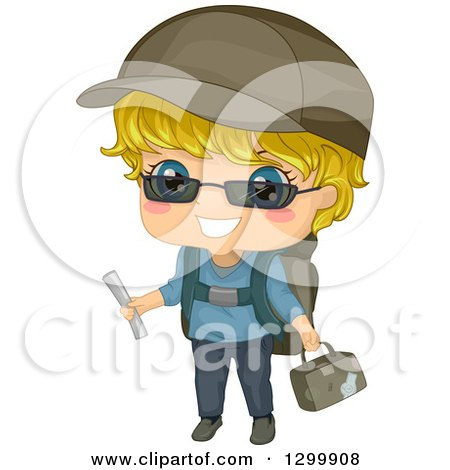 Clipart of a Blond White Boy Ready with Travel Gear - Royalty Free Vector Illustration by BNP Design Studio