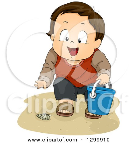 Clipart of a Brunette White Boy Collecting Sea Shells on a Beach - Royalty Free Vector Illustration by BNP Design Studio