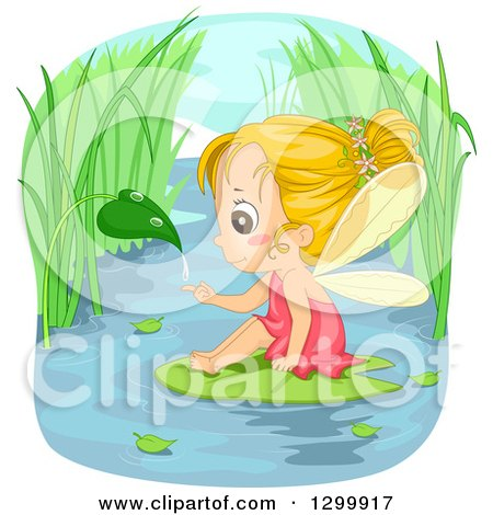 Clipart of a Blond White Fairy Girl Catching a Droplet from a Leaf and Sitting on a Water Lily Pad - Royalty Free Vector Illustration by BNP Design Studio